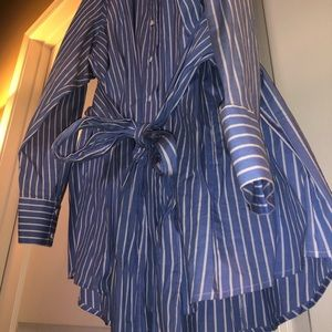 Blue Stripped Button-Down Tie Front Top